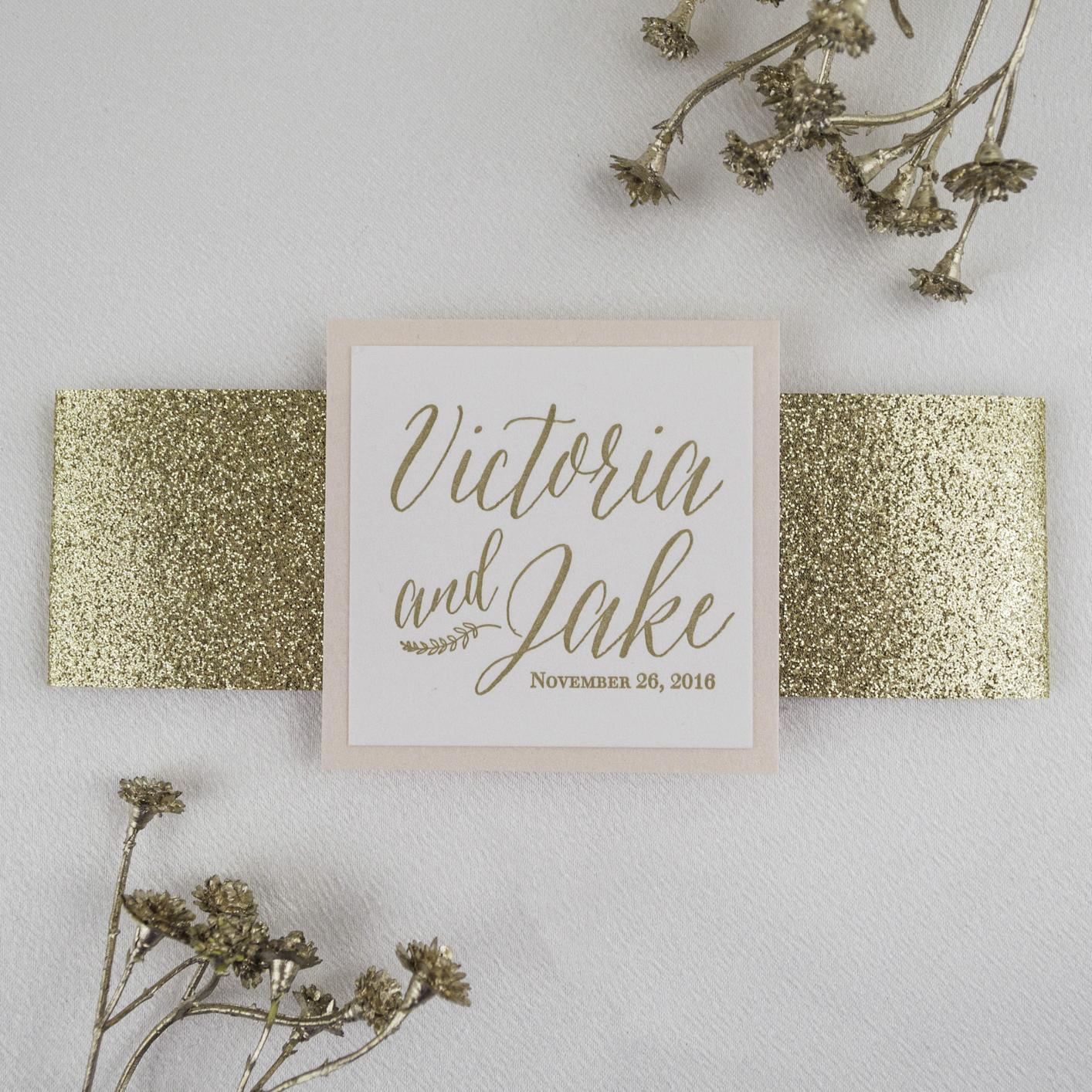 Modern Calligraphy Letterpress Wedding Invitation