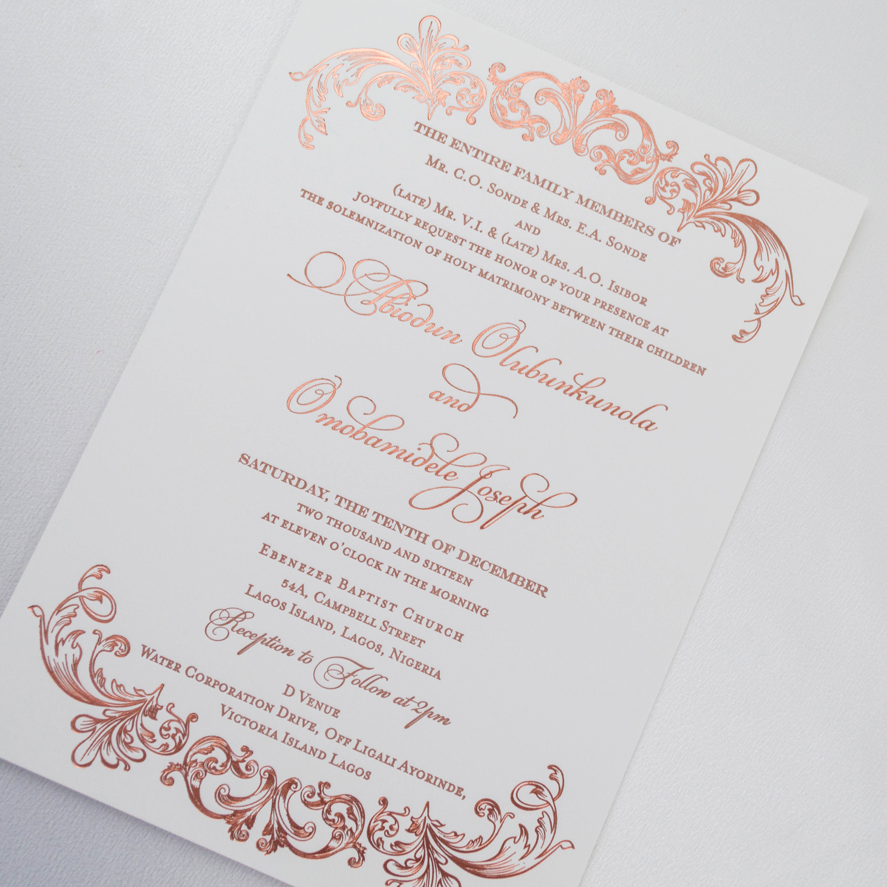 Ont Wedding Invitations 1 Foil Photo5 Elegant Copper
