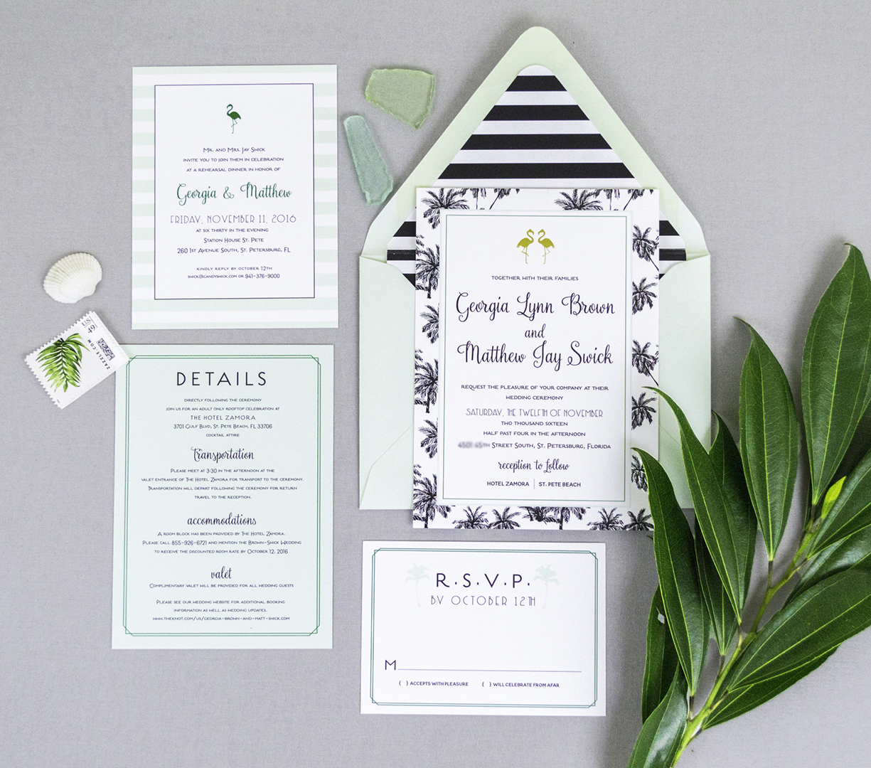 Mid-Century tropical Inspired Wedding Invitations