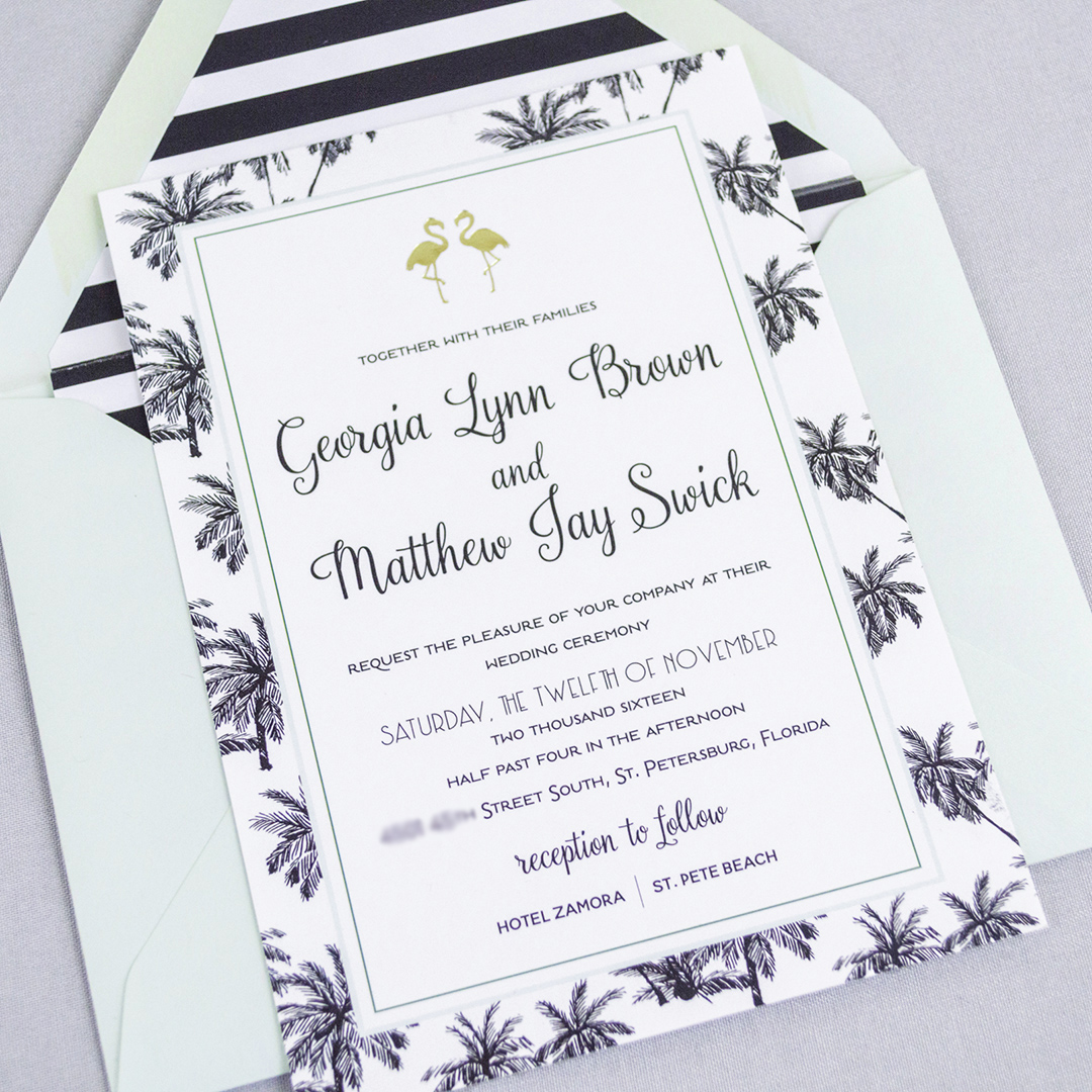 Mid-Century Florida Inspired Wedding Invitations