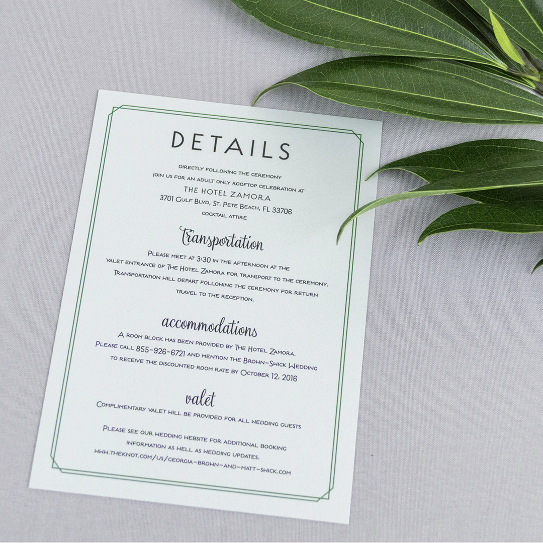 Modern Florida Inspired Wedding Invitations