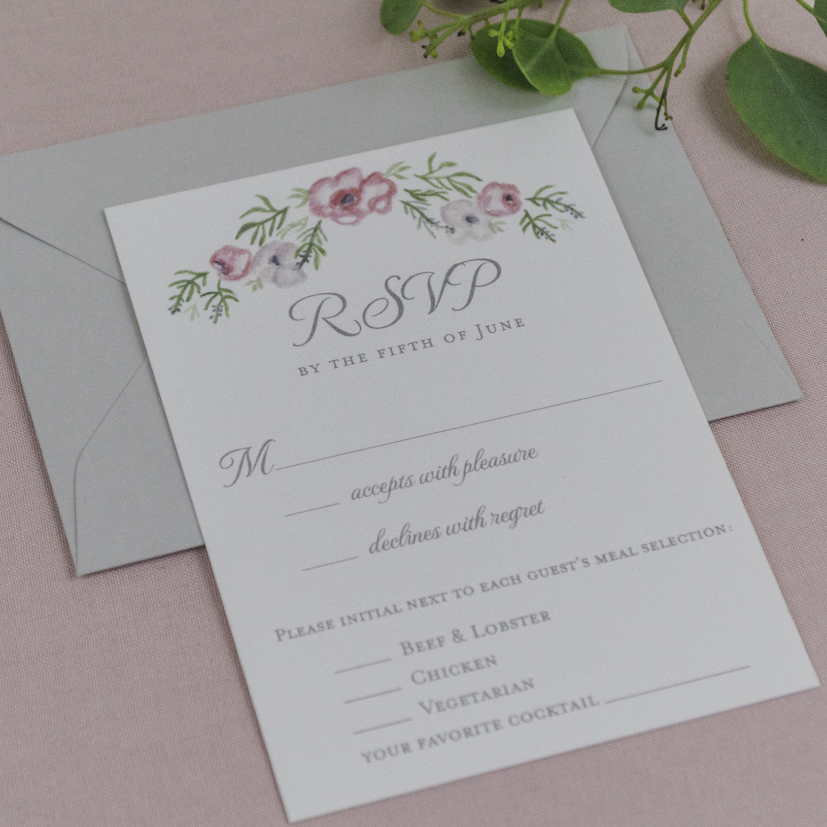 Romantic, Watercolor Floral Wedding Invitations