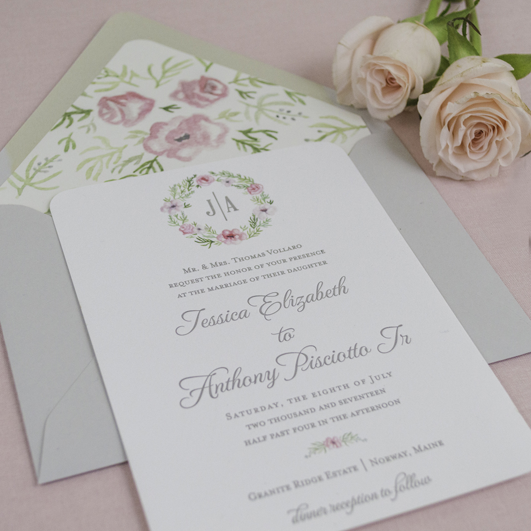 Monogram Floral Watercolor Crest Invitations