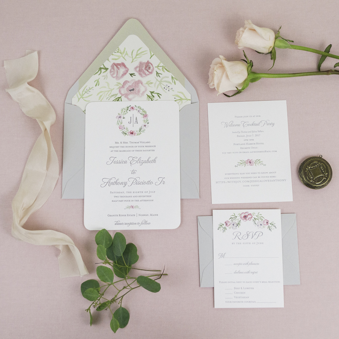 Floral Watercolor Crest Invitations