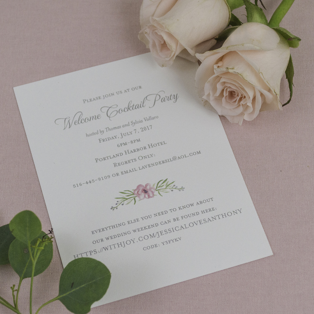 Romantic Floral Letterpress Invitations