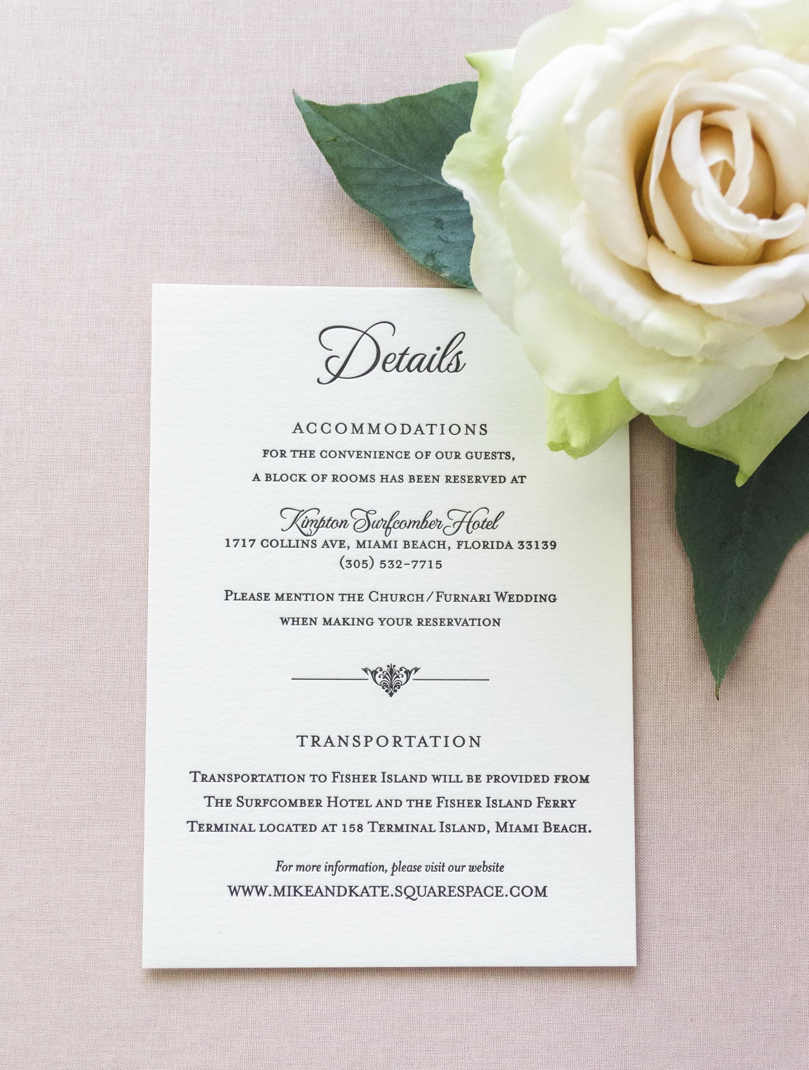 elegant floral letterpress wedding invitations - Miami Florida Wedding