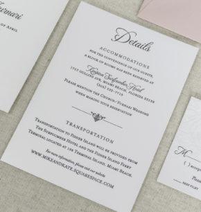 Hand drawn floral letterpress wedding invitations
