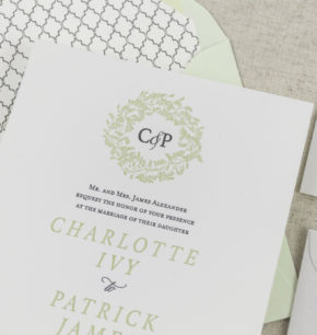 Greenery Leaves Wreath Monogram Letterpress Wedding Invitations
