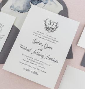 Sprig Monogram Crest Wedding Invitations