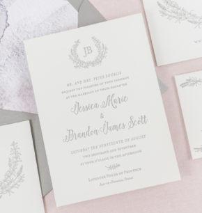 Greenery Monogram Crest Letterpress Wedding Invitations
