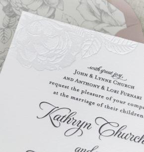 Spring Floral Blind Letterpress Wedding Invitations