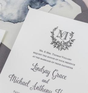 Sprig Monogram Crest Letterpress Wedding Invitations