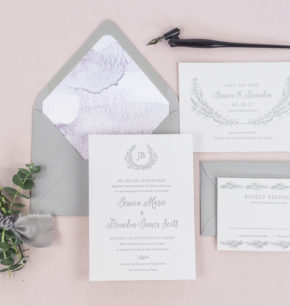 Letterpress Greenery Monogram Wedding Invitations