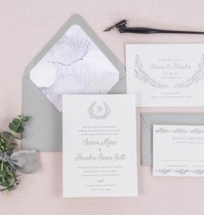 Letterpress Greenery Monogram Wedding Invitations