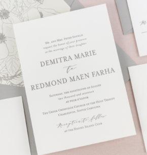 Organic, Elegant Minimalist Wedding Invitations