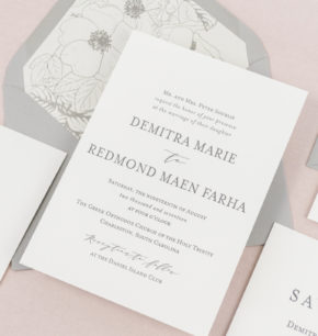 Classic, Minimalist Letterpress Wedding Invitations