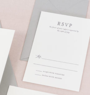 Elegant Minimalist Letterpress Wedding Invitations