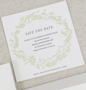 Greenery Wreath Letterpress Save-the-Date