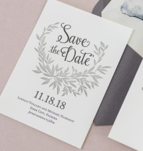 Elegant Monogram Laurel leaf Save-the-Date Cards