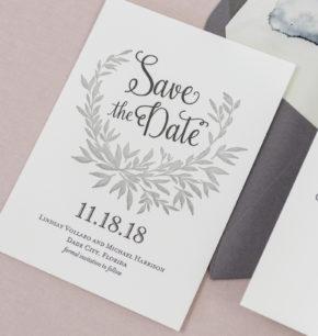 Elegant Monogram Laurel leaf Save-the-Date Cards