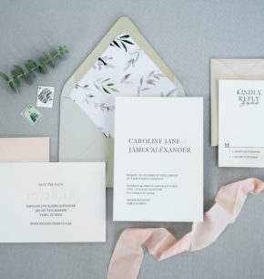 Minimalist typography letterpress wedding invitations