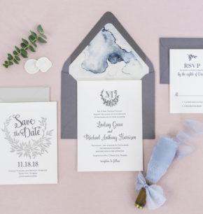 Laurel Leaf Monogram Crest Wedding Stationery