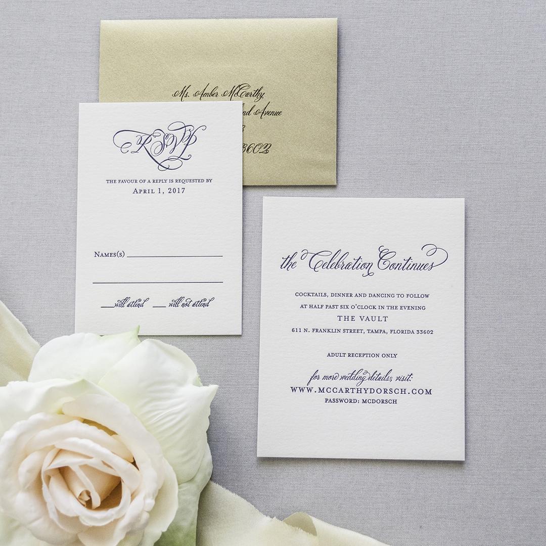 Traditional, Elegant Monogram Crest Wedding Invitations