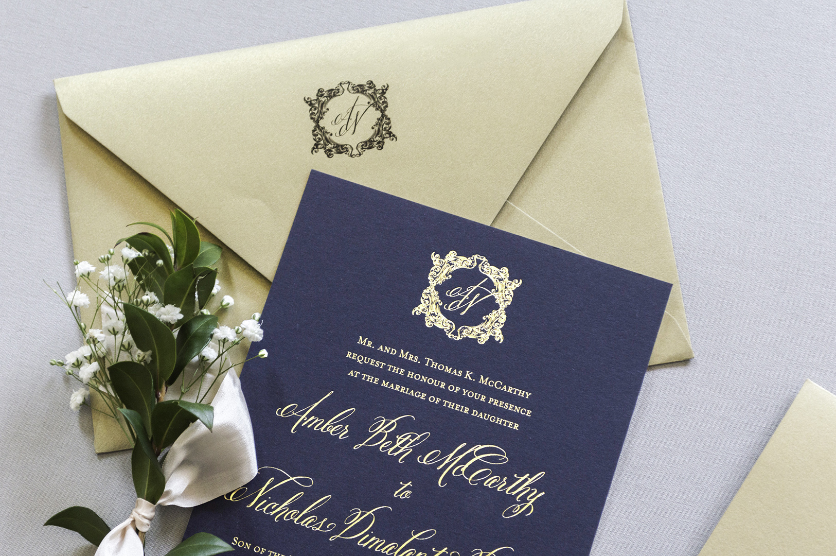 Elegant Monogram Wedding Invitations: Traditional, Elegant Monogram Crest Wedding Invitations