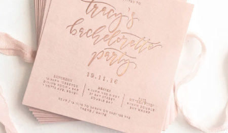 A letterpress bachelorette party invite designed by A&P Design Co.