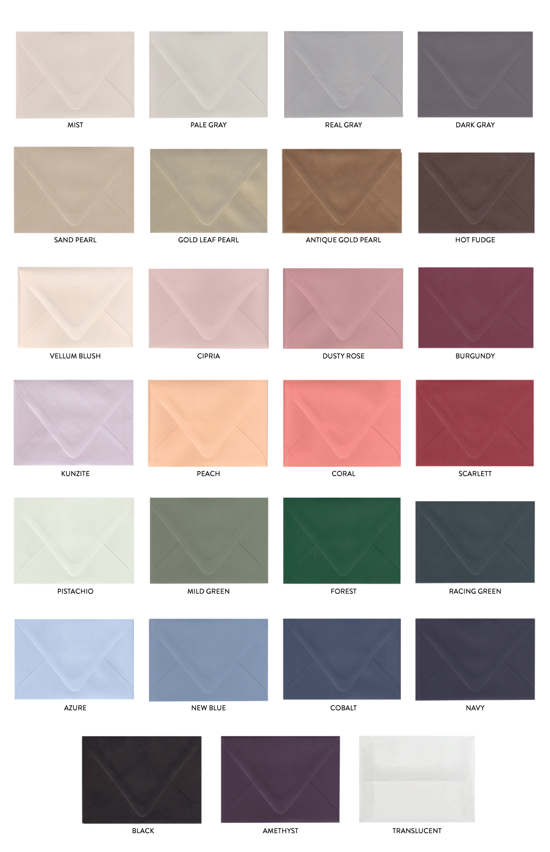 Colored Envelope Options