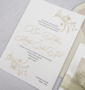 modern organic letterpress wedding invitations