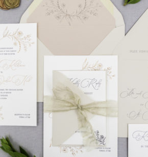 floral letterpress wedding stationery