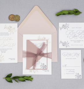 affordable modern floral letterpress wedding invitation
