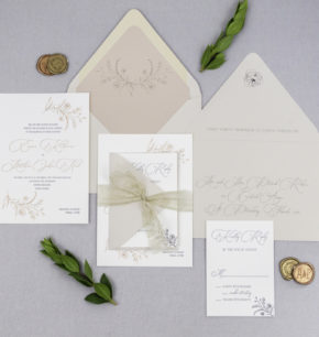 affordable modern organic letterpress wedding invitation