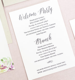 Letterpress & Foil Tropical Wedding Invitations