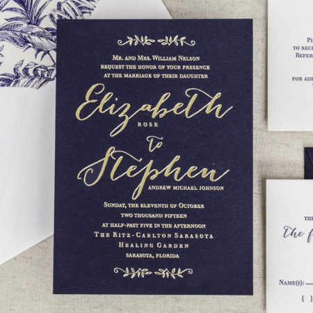 Affordable letterpress invitations - Ritz Carlton Sarasota Florida