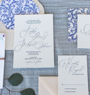 southern inspired modern letterpress wedding invitations