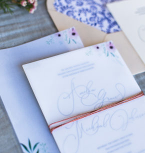 affordable modern letterpress wedding invitation