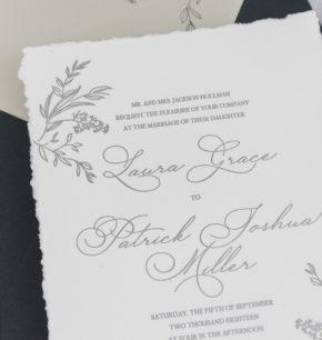 affordable greenery letterpress wedding invitation
