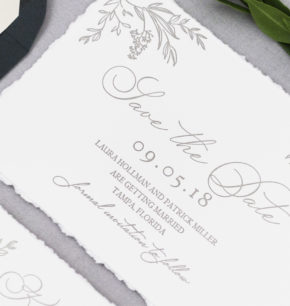 Greenery Letterpress Wedding Invitation