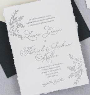 Classy Greenery Letterpress Wedding Invitation