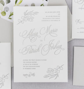 eucalyptus greenery letterpress invitations