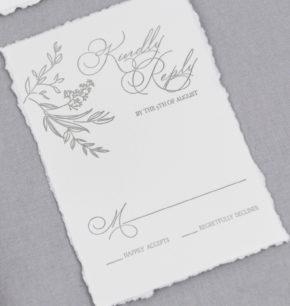 Greenery Letterpress Wedding Invitation