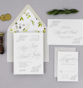 watercolor & letterpress eucalyptus wedding invitations