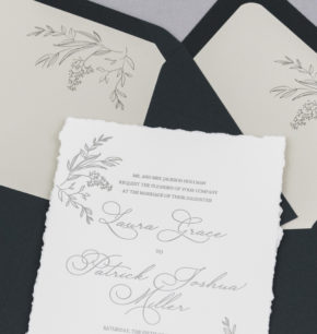 affordable greenery letterpress wedding invitation
