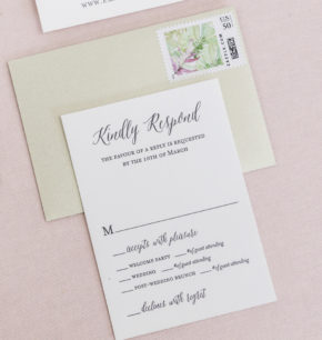 Tropical watercolor letterpress wedding invitation