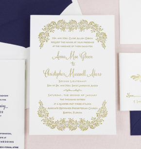 Wintergreen Botanical Letterpress Wedding Invitations