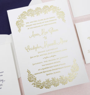 Winter garden Letterpress Wedding Invitations