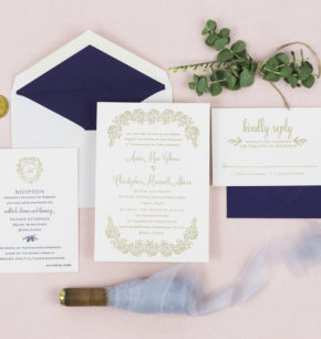 Winter inspired foil & letterpress wedding invitations