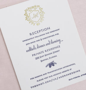 Winter green botanical letterpress wedding invitations